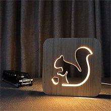 Only 1 Piece Squirrel Wooden DIY 3D Night Light