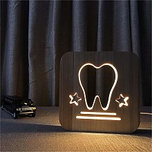 Only 1 Piece Tooth 3DLED Table lamp Wooden Carving