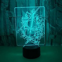 Only 1 Piece Violin 3D Night Lamp 7 Color Touch