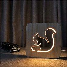 Only 1 Piece Warm White 3D Squirrel Wooden DIY