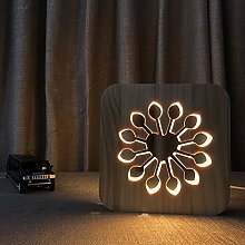 Only 1 Piece Wooden Flower Night Light Carved