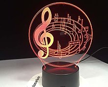 Only 1 Romantic Musical Note Color Table Lamp 3D
