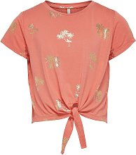 ONLY Kids Coral Palm Print Knot Top - 9-10 years