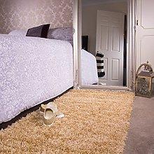 Ontario Beige Bedside Bedroom Floor Shaggy Shag