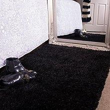 Ontario Jet Black Bedside Bedroom Floor Shaggy