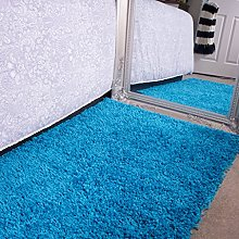 Ontario Teal Blue Bedside Bedroom Floor Shaggy