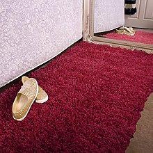 Ontario Wine Red Bedside Bedroom Floor Shaggy Shag