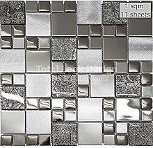 Onyx Black Squares Mosaic Tiles Sheet for Walls,