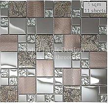 Onyx Bronze & Stainless Steel Mosaic Tiles Sheet
