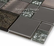 Onyx Bronze & Stainless Steel Mosaic Tiles Sheet