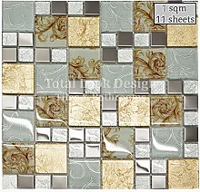 Onyx Gold Vintage Mix Squares Mosaic Tiles Sheet
