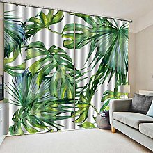 Opaque curtain with eyelets, tropical plants, L55