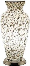Opaque White Flower Mosaic Glass Vintage Vase