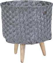Open Plastic Basket Handed By Colour: Dark Grey