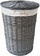 opfurnishing Grey Wicker Round Laundry Basket With