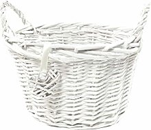 opfurnishing Oval White Wicker Fruit Egg Storage