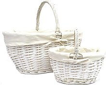opfurnishing Set of 2 White Strong Oval Wicker