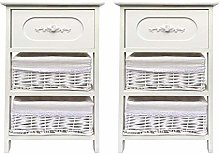 opfurnishing Set of 2 Wide White 3 Chest of Drawer