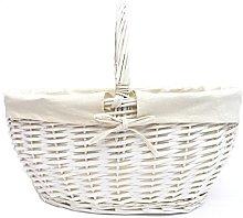 opfurnishing Strong Oval White Wicker Easter Egg