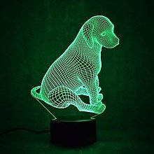 Optical Illusion 3D Dog Night Light 7 Colors