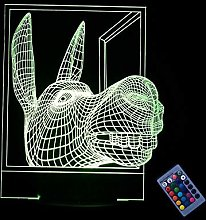 Optical Illusion 3D Donkey Night Light 16 Colors