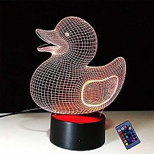 Optical Illusion 3D Duck Night Light 16 Colors