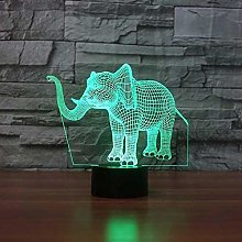 Optical Illusion 3D Elephant Night Light 7 Colors