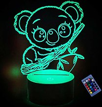 Optical Illusion 3D Koala Night Light 16 Colors