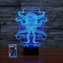 Optical Illusion 3D Octopus Lamp 7/16 Colour