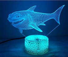 Optical Illusion 3D Shark Night Light USB Touch