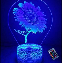 Optical Illusion 3D Sunflower Night Light 16
