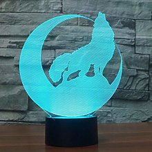 Optical Illusion 3D Wolf Night Light USB Touch