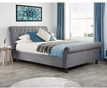 Opulence Grey Velvet Fabric Scroll Sleigh Bed