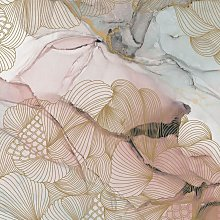 Opulence Pink Marble Mural - Wallpaper Sample