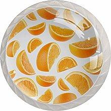Orange 4pcs Glass Cupboard Wardrobe Cabinet Drawer