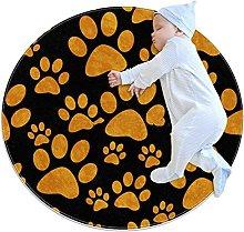 Orange and Black Dog Paw, Round Area Rug Pattern