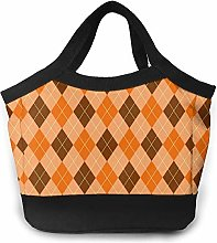 Orange and Brown Buffalo Plaid Insulated Lunch Bag
