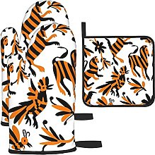 Orange Black Mexican Print Oven Mitts and Pot