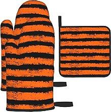 Orange Black Stripe Oven Mitts and Pot Holders