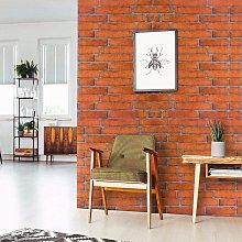 Orange Brick Peel and Stick Wallpaper, 17.7' x