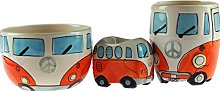 ORANGE Camper Van Ceramic 3 Piece Breakfast Set -