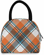 Orange Check Plaid Lunch Bag Cooler Bag Insulated