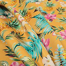 Orange Colour Pineapple Pattern Printed Velour