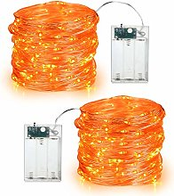 Orange Fall Lights, BrizLabs 2 Pack 19.68ft 60 LED