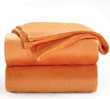 Orange Fleece Plaid Blanket 150x200 cm - Soft and