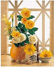 Orange Flower Decoration Art Craft Embroidery