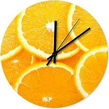 Orange Fruit Wall Clock Wooden Cool Kitchen Clock
