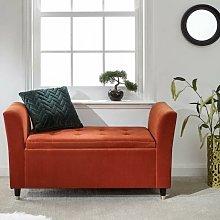 Orange Genoa Storage Ottoman Window Bench Seat