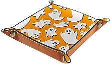 Orange Ghost Microfiber Leather Desk Tray