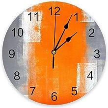 Orange Gray Abstract Texture Wall Clock Bedroom